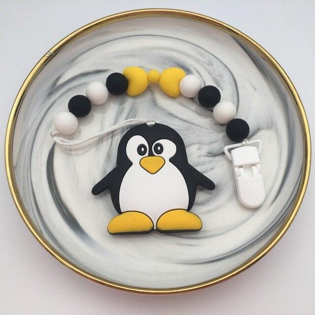 سيليكون البطريق/الباندا مشابك مصاصة للرضع سلسلة حامل الطفل مضغ حبة المقود مع البلاستيك البيئي اليدوية مهدئ الحلمة حزام