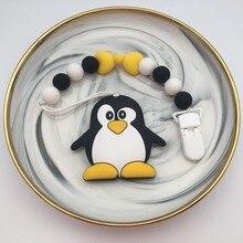 Clips de silicona para chupete de pingüino/panda, soporte para cadena, cuentas masticables para bebé, correa para chupete hecha a mano de plástico ambiental