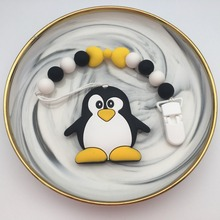 Silicone Penguin/panda Pacifier Clips Chain Holder Baby Chew Bead Leash with enviromental plastic Handmade Soother nipple strap