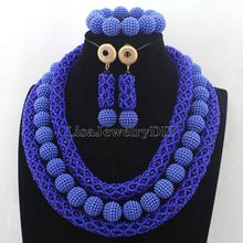 Latest Royal Blue Crystal Beads African Jewellery Set Women Chritmas Gift Nigerian Party Beads Necklace Sets Free ShippingHD7722