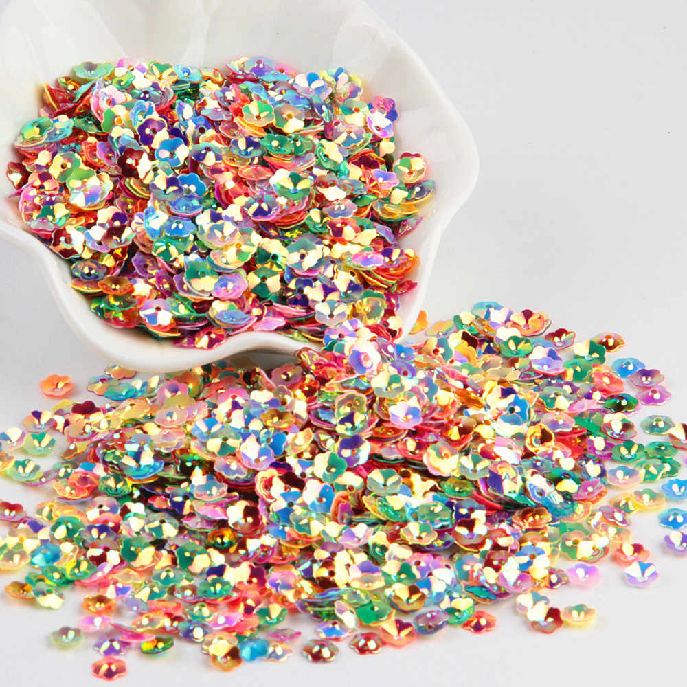 3D Flower Sequin 6mm Loose PVC Cup Plum Blossom Paillettes Lentejuelas DIY Sewing Craft Accessories for Costume Jewelry 20g/lot
