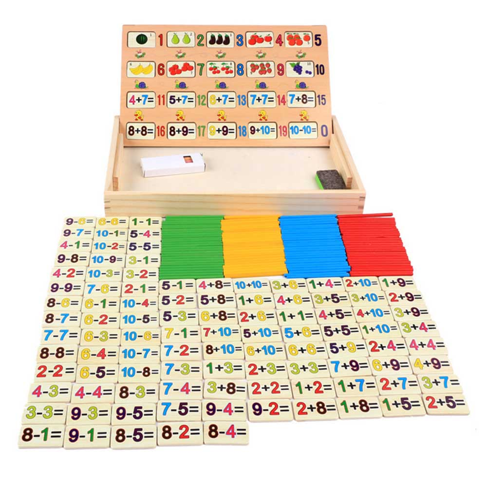 Montessori Math Toy Wooden Fruit Number Math Game Sticks Educational Toy Puzzle Learning Teaching Aids Set Child Birthday Gift