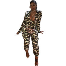 72270e72bc57b Long Sleeve Camouflage Jumpsuit Women Turn Down Collar Zipper Front Army  Green Casual Camo Overalls One Piece Jumpsuit Rompers