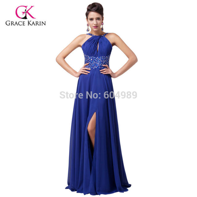 3ec3d21ef56a Grace Karin Sexy Women Front Slit Royal Blue Prom Dresses 2018 Chiffon  Formal Long Party Gown halter Evening Dress 6023