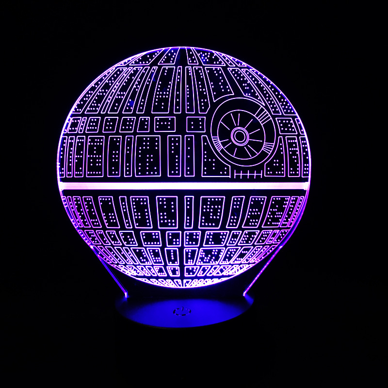 Hot Sale Movie Star Wars 3D USB LED Lamp Astro Cartoon Death Star Colorful  Ball Bulb