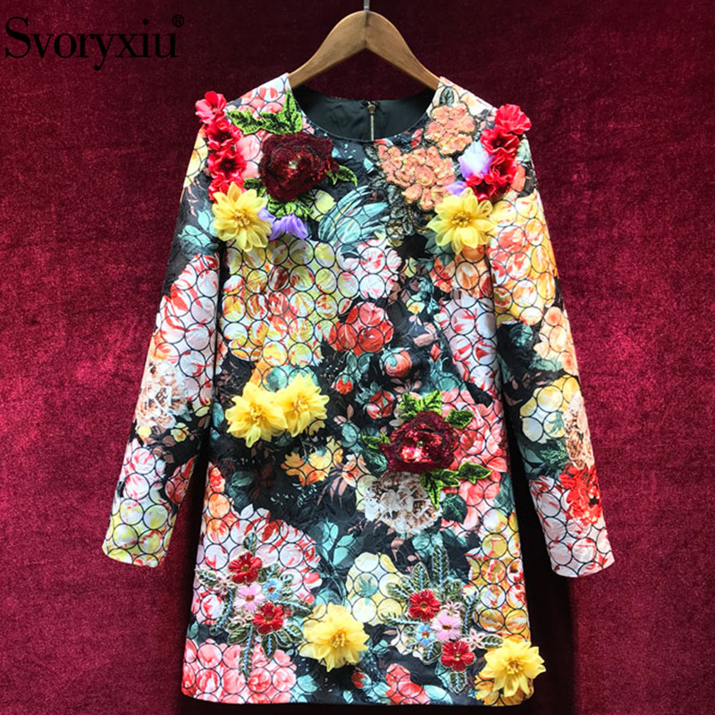 Svoryxiu Autumn Winter High End Embroidery Dress Women's luxury Sequined Rose Appliques Printed Vintage Runway Short Dresses