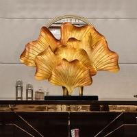 Четыре листьев гинкго Скульптура Modern Metal Аннотация фигурка утюга подарок для офиса украшения дома аксессуары