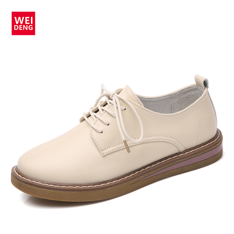 WeiDeng Autumn Genuine Leather British Flat 2017 Leisure Women Lace up Casual Breathable Ankle Lady Fashion Soft Shoes weideng shoes women genuine leather cow suede casual oxford flats lace up non slip breathable fashion loafers zapato autumn