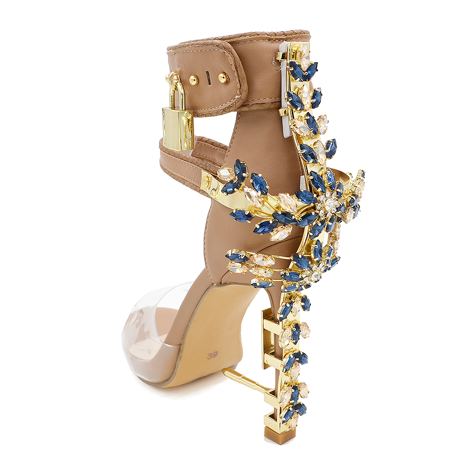 b9d636c779495 Jeweled high Heels Gladiator Sandals Women Ankle Buckle Strap Lock PVC  Clear Peep Toe Rhinestone Summer Shoes Sandalias mujer - aliexpress.com -  imall.com
