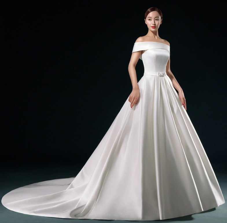 Elegant White Satin Wedding Dress 2016 Long Vestidos De