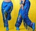Moda de nueva marca mujeres Hip hop pantalones desgaste de la danza patchwork ds femeninos trajes del funcionamiento de la borla pantalones harem flojos