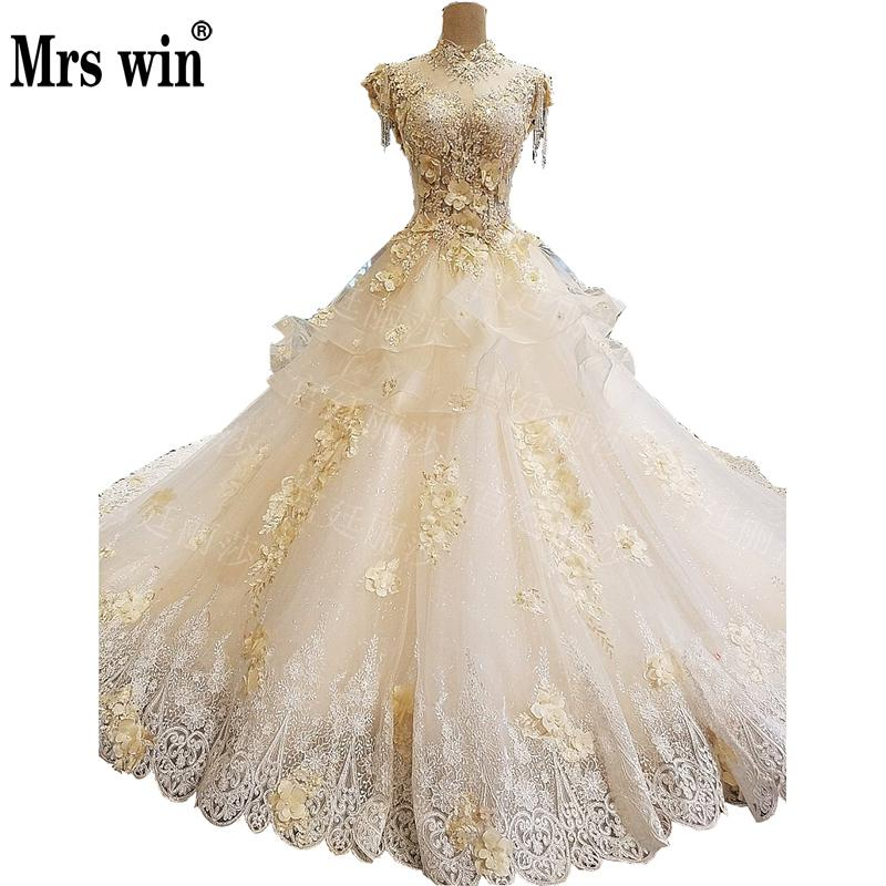 Mrs Win 2019 New Vintage Wedding Dress Luxury Lace Embroidery Lace Up Princess Vestido De Noiva Hot High-end Wedding Gown F