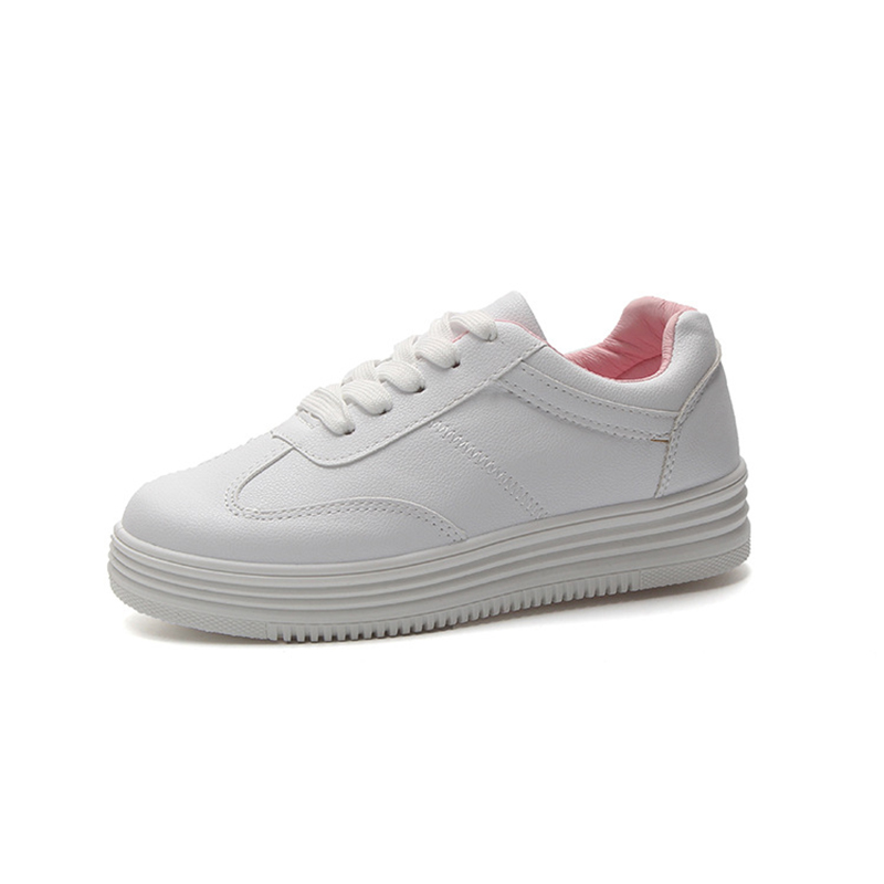 Fashion White Shoes Women Flat Leather Canvas Lace Up Shoes Female White Board Shoes Casual Shoes Feminino Walking Sneakers