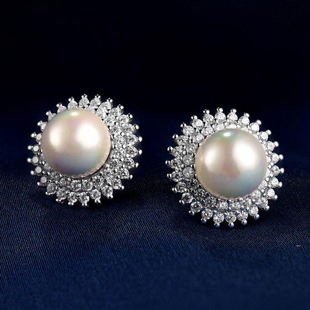 LIAMTING Luxury Solid Silver Pearl Earrings For Women 925 Sterling Silver CZ Earrings With Simulated Pearl Fashion Jewelry VC064