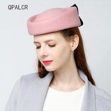 00d9f30a5874d QPALCR invierno Vintage de fieltro de lana sombrero Fedora encantador Rosa  boda sombreros para las mujeres