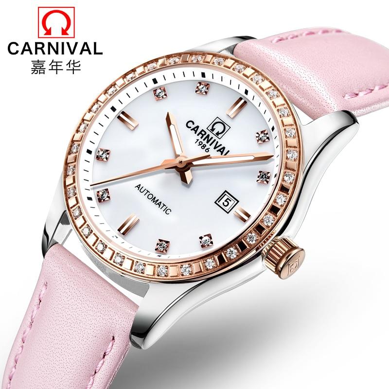 Carnival rhinestone dress automatic mechanical watches women luminous waterproof ladies watch genuine leather luxury brand clock