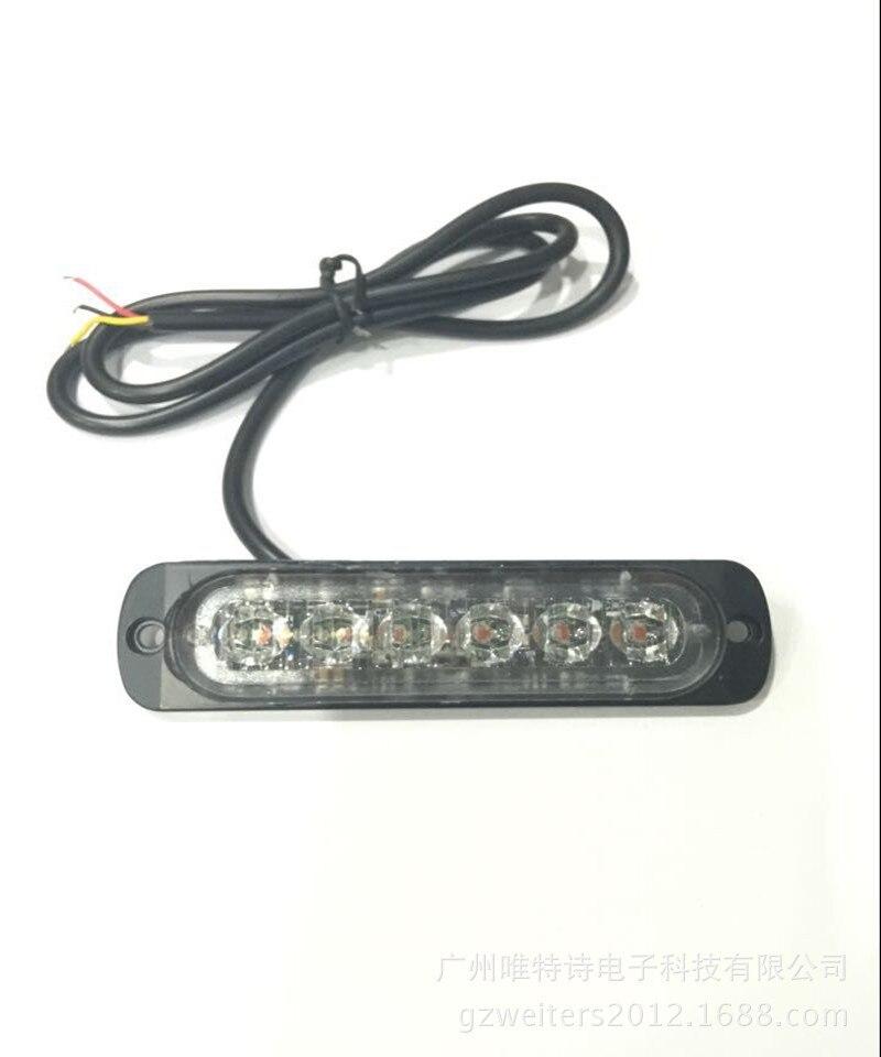 12-24V New UltraThin Car 6LED Highlighting Medium Net Lamp Flashing Light Flicker