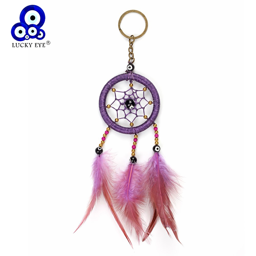 Lucky Eye Dream Catcher Keychain Handmade Feather Charms Bag Key Chain Car Pendant Wall Hanging Evil Eye Jewelry Gifts EY4981