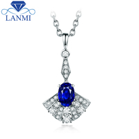 Oval Blue Sapphire Diamond Pendant Necklace Real 14K White Gold Fine Jewelry For Women Anniversary Gift