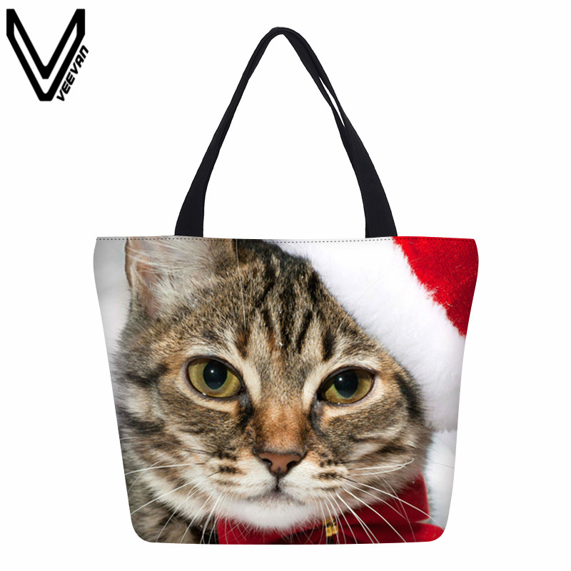 Cat Shopping Bags Animal Hamburger Canvas Bags Santa Claus Cartoon Handbags Dog Elk Printing Canvas Tote Bags
