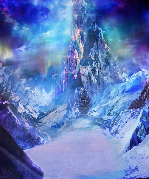 Fantastic Art fabric Party stage photography backdrops fairy tale freeze mountain background for Festical celebration XT-3861 mountain