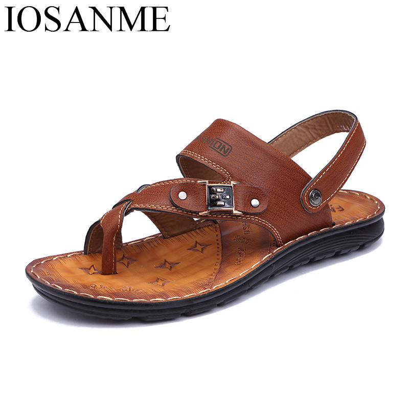 b955ca10881 US $18.48 30% OFF|mens sandals 2018 summer outdoor beach slide sandals  leather shoes luxury brand fashion breathable casual male footwear for  men-in ...
