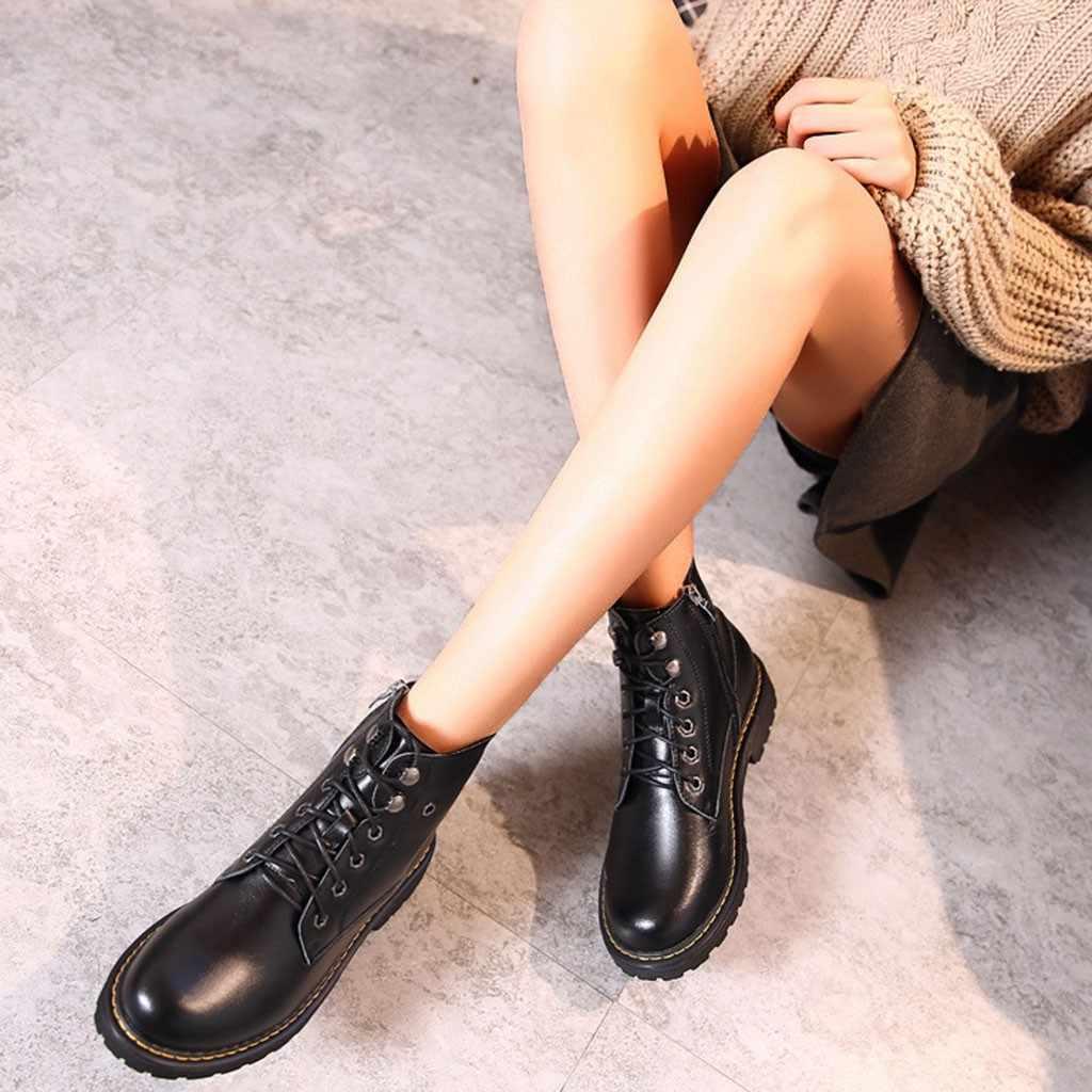 2019 ฤดูใบไม้ผลิฤดูใบไม้ร่วงฤดูใบไม้ร่วง Lace-up Soft รองเท้าแฟชั่นผู้หญิงคลาสสิก Cool Zip Marten เย็บข้อเท้านุ่มรองเท้ารองเท้า # g3