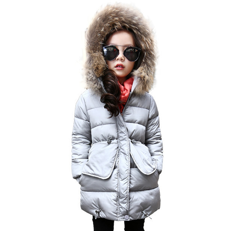 New Fashion Kids Winter Fur Collar Girls Cotton Parkas jacket Long Outerwear Coat Child Hooded Thicken Girls Down Jacket Clothes