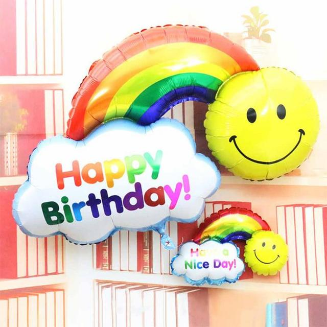 Foil Balloon double side Happy Birthday Wedding Decoration Large size Smile Face Rainbow Globos balls Have A Nice Day kids toys