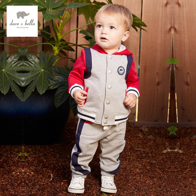 купить DB4740 dave bella spring baby boys sports clothing sets kids hooded sets clothes 1set toddle boutique set недорого