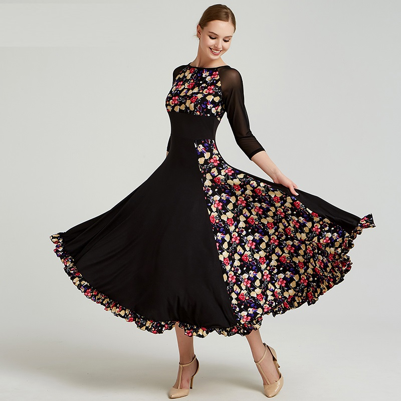 Print Standard Ballroom Dress Standard Dance Dresses Flamenco Dress Dance Wear Spanish Costume Ballroom Waltz Dress Fringe