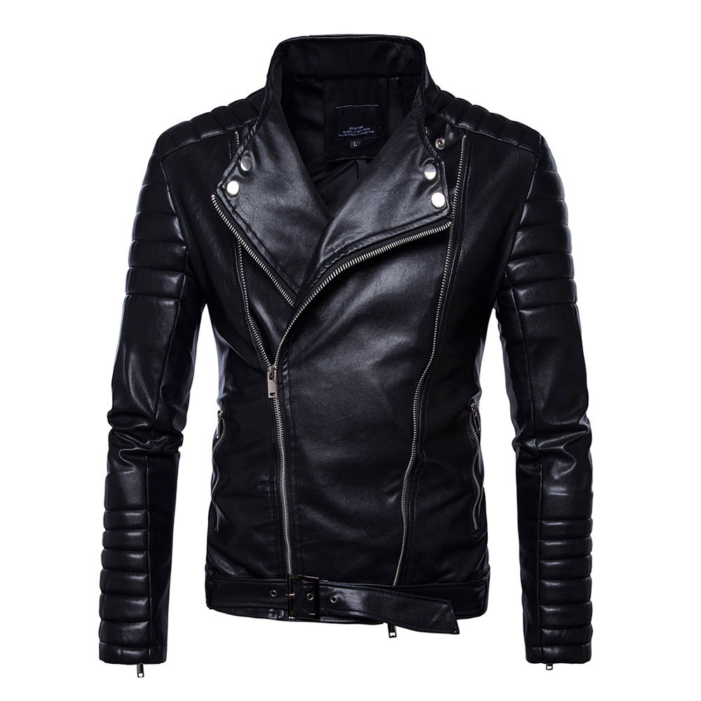 Herobiker Motorcycle Jackets Men PU Leather Jacket Vintage Retro Zipper Belt Design Biker Punk Classical Windproof Moto Jacket zipper fly chamois biker jacket