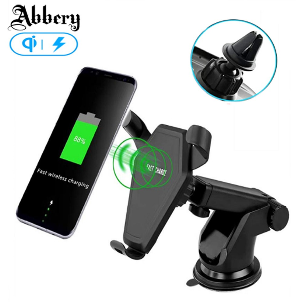 Abbery Multi Funtion Qi Wireless Charger Charging Pad Phone Holder Wireless Car Charger For Samsung font