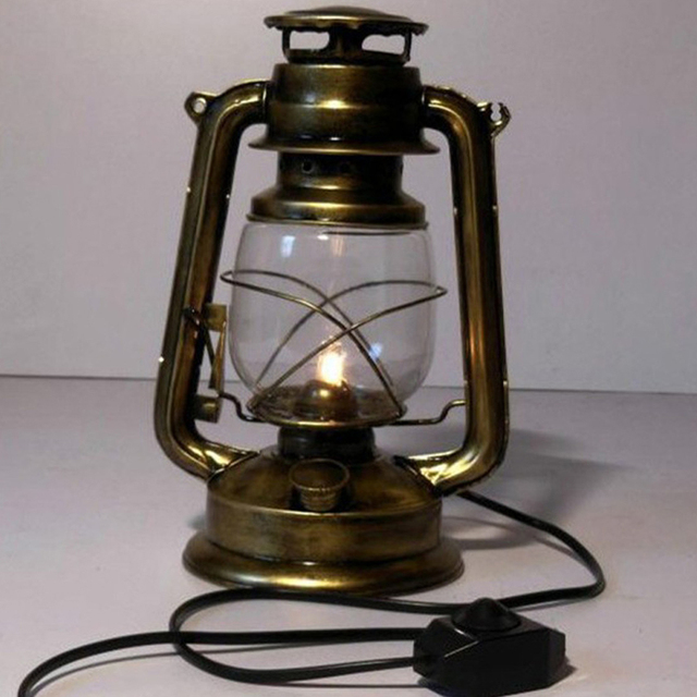 Nostalgic Kerosene Lantern Table Lamp Antique Copper Color Light Retro Desk For Bar