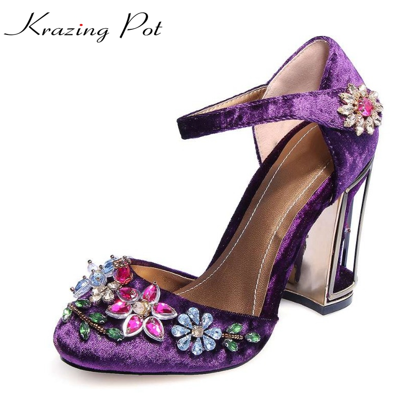 krazing pot beading flower crystal cage heels super high-heel round toe velvet women high quality brand shoes luxury big size L krazing pot 2018 bowtie fashion diamond brand shoes flowers platform lacework crystal beading super high heels women sandals l69