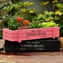 Nueva maceta de jardín negra y rosa, cajas de madera decorativas Vintage para suculentas, mesa rectangular, maceta, dispositivo de jardinería