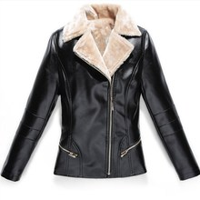 2018 Pu Leather Winter Jacket Turn-Down Collar Women Warm Faux Fur Motorcycle Coat Slim Pocket Black