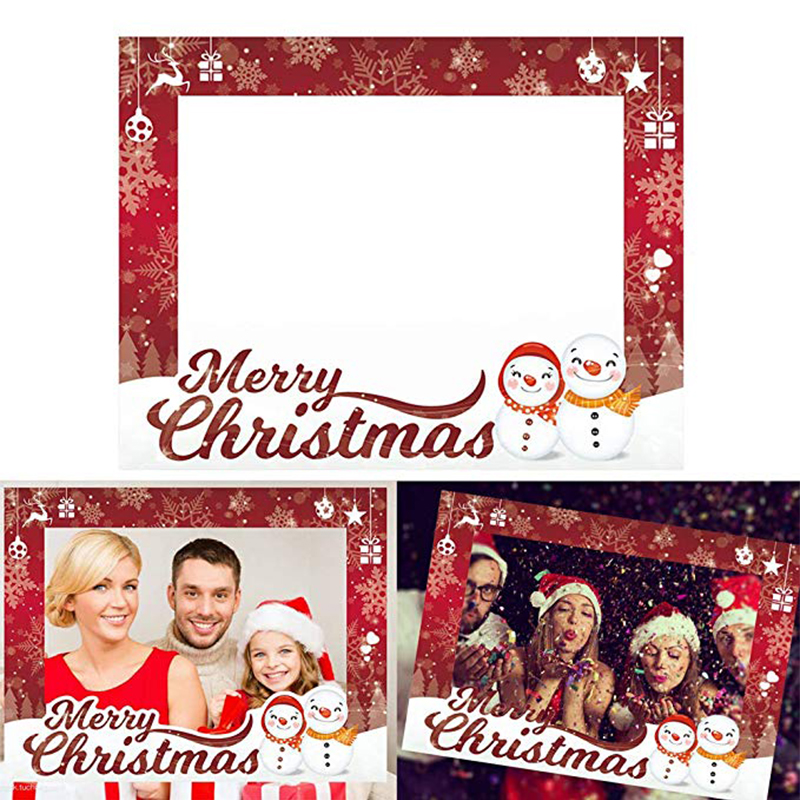 1pc Family Christmas Picture Frame Prop Selfie Photo Booth Photo Shoot Props Frame Banner New Years Eve Decoration