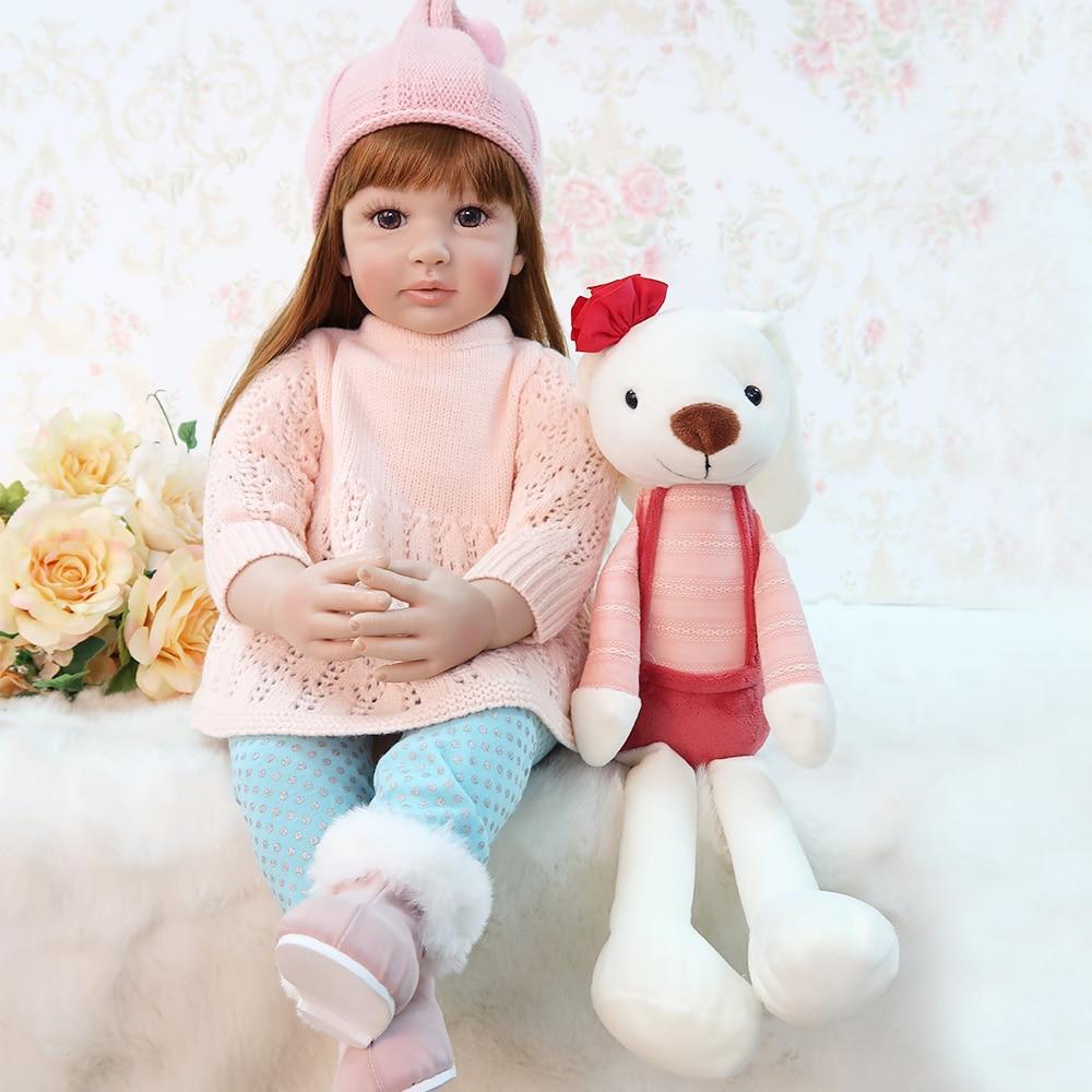 60 cm Silicone Reborn bébé poupée jouets 24 pouces princesse enfant en bas âge lol original reborn bébé poupées filles Brinquedos jouer maison jouets