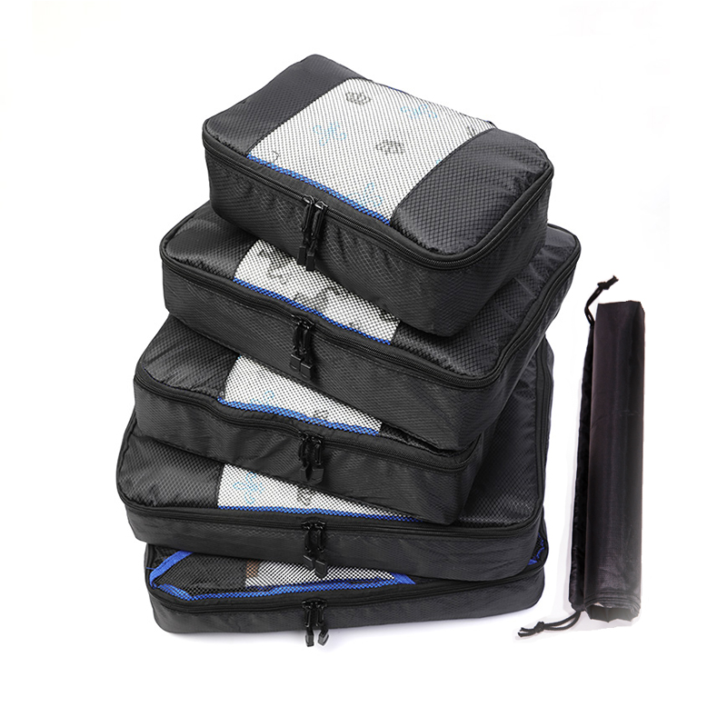 QIUYIN Travel Bags Packing Cubes Organizer Wholesale 5 Pcs/set Fashion Double Zipper Waterproof Polyester Men And Women Luggage