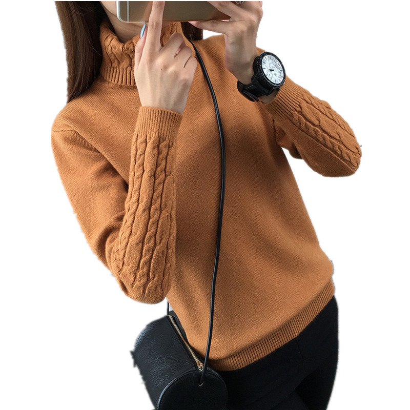 Turtleneck Sweater Knitting Pullover Long-Sleeve Woman Women's K3985 High-Quality