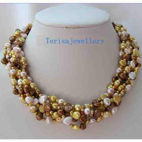 Collier de perles d'eau douce Baroque en gros classique 6 brins café violet Champagne, AA 7-8 MM 18 pouces véritable perle bijoux