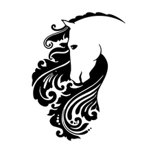 11.3cm*15.5cm Animal Horse Mane Fashion Car Sticker Motorcycle Decorating Decal Black/Sliver Car Accessories S6-2823
