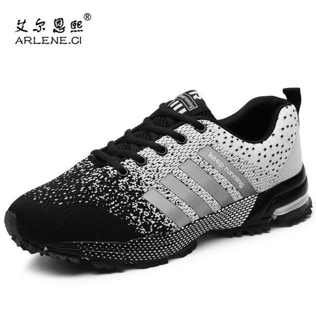 af5d015b3d8c Plus Size 36-47 Lace Up Men Shoes Breathable Sports Shoes Men Women Outdoor  Athletic Training Light Tennis Shoes Male Sneakers