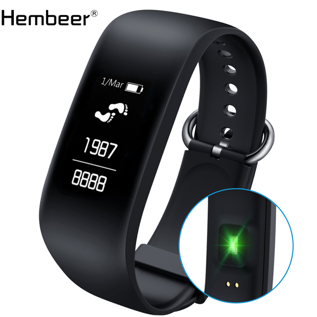 Hembeer E8 Smart Bracelet Accurate Dynamic Heart Rate Monitor Band Integrated Body Design Fitness Watch for Android IOS phone