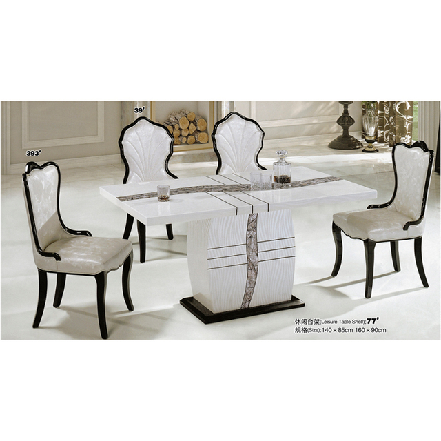 China Modern Cheap Furniture Marble Top Dining Table Sets With Four
