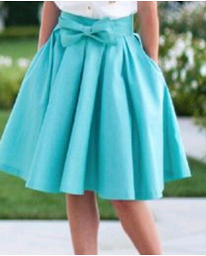 Womens High Waist Candy Colors Pleated Knee Length Skirt Bow Skirt Solid Elegant Casual Skirt in Skirts from Women 39 s Clothing