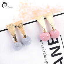 2018 new earrings jewelry geometric candy color womens short fashion temperament ear studs set