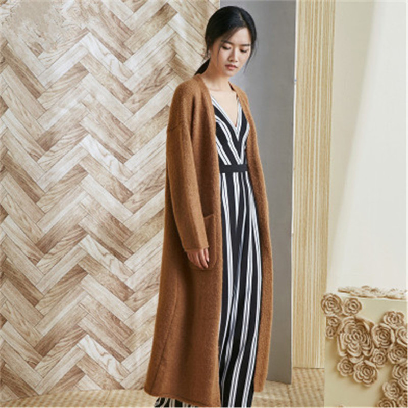 100% Hand Made Wool Knit Women Streetwwear Vneck Solid H-straight Long Cardigan Sweater One&over Size