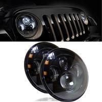 2018 Лидер продаж Новый LED 7 дюймов круглый проектор Фары для автомобиля Черный Корпус низкая/высокая h6024 h6012 (пара) Вики